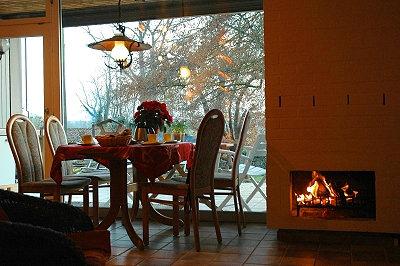 Tisch, Kamin und Blick auf die Terrasse und den Garten